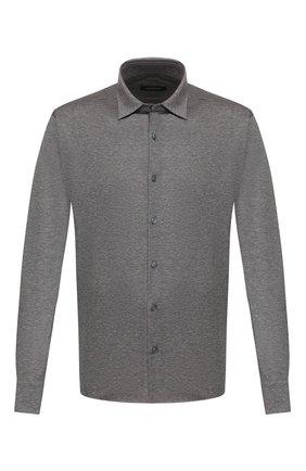 Мужская хлопковая рубашка ERMENEGILDO ZEGNA серого цвета, арт. UU526/854 | Фото 1