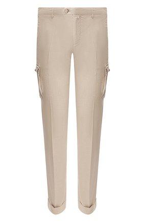 Мужской брюки-карго из смеси льна и хлопка KITON бежевого цвета, арт. UFPPCAJ07S41 | Фото 1