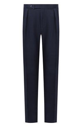 Мужские шелковые брюки RALPH LAUREN темно-синего цвета, арт. 798794553 | Фото 1 (Длина (брюки, джинсы): Стандартные; Материал подклада: Вискоза; Материал внешний: Шелк; Случай: Формальный; Стили: Классический)