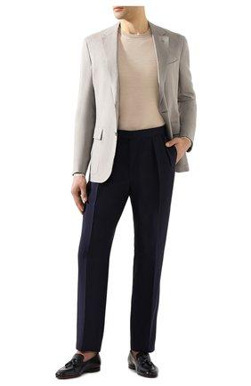 Мужские шелковые брюки RALPH LAUREN темно-синего цвета, арт. 798794553 | Фото 2 (Длина (брюки, джинсы): Стандартные; Материал подклада: Вискоза; Материал внешний: Шелк; Случай: Формальный; Стили: Классический)