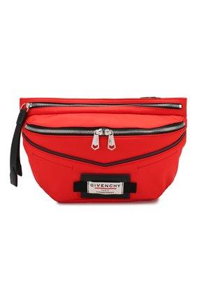 Мужская текстильная поясная сумка downtown GIVENCHY красного цвета, арт. BKU007K0S9 | Фото 1