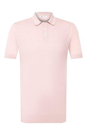 Мужское поло из смеси шелка и хлопка IL BORGO CASHMERE розового цвета, арт. 55-934-01G0 | Фото 1