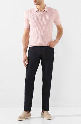 Мужское поло из смеси шелка и хлопка IL BORGO CASHMERE розового цвета, арт. 55-934-01G0 | Фото 2