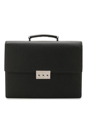 Мужской кожаный портфель BRIONI черного цвета, арт. 0IUF0L/04702   Фото 1