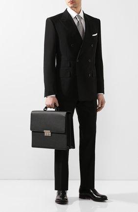 Мужской кожаный портфель BRIONI черного цвета, арт. 0IUF0L/04702   Фото 2