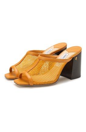 Женские кожаные мюли joud 85 JIMMY CHOO желтого цвета, арт. J0UD 85/H0N | Фото 1