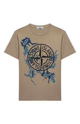 Детская хлопковая футболка STONE ISLAND бежевого цвета, арт. 721621056/14 | Фото 1