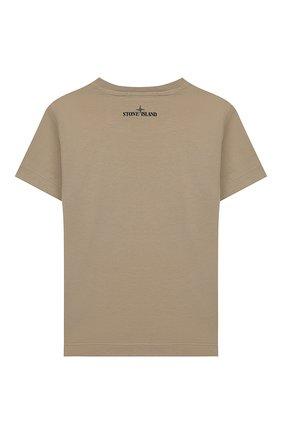 Детская хлопковая футболка STONE ISLAND бежевого цвета, арт. 721621056/14 | Фото 2