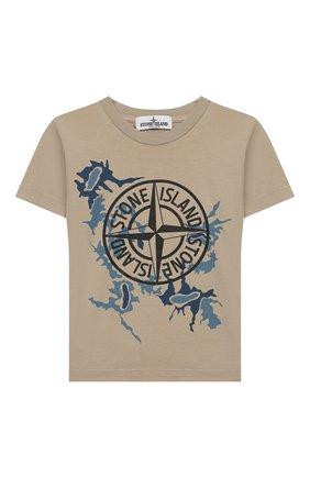 Детская хлопковая футболка STONE ISLAND бежевого цвета, арт. 721621056/4 | Фото 1