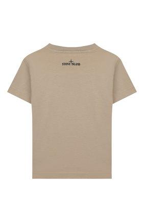 Детская хлопковая футболка STONE ISLAND бежевого цвета, арт. 721621056/4 | Фото 2