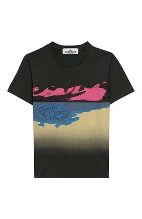 Детская хлопковая футболка STONE ISLAND темно-зеленого цвета, арт. 721621055/6-8 | Фото 1