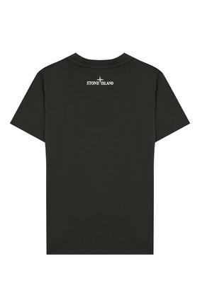 Детская хлопковая футболка STONE ISLAND темно-зеленого цвета, арт. 721621055/6-8 | Фото 2