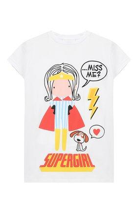 Детская удлиненная футболка из хлопка SCRAMBLED_EGO белого цвета, арт. BJ135 | Фото 1