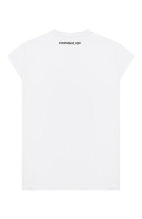 Детская удлиненная футболка из хлопка SCRAMBLED_EGO белого цвета, арт. BJ135 | Фото 2
