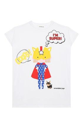Детская удлиненная футболка из хлопка SCRAMBLED_EGO белого цвета, арт. BJ134 | Фото 1