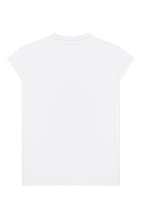 Детская удлиненная футболка из хлопка SCRAMBLED_EGO белого цвета, арт. BJ134 | Фото 2