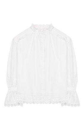 Детское хлопковая блузка OSCAR DE LA RENTA белого цвета, арт. 20SGN701EDX | Фото 1 (Материал подклада: Хлопок; Рукава: Длинные; Материал внешний: Хлопок; Ростовка одежда: 10 - 11 лет | 140 - 146см, 13 - 15 лет | 158 см)