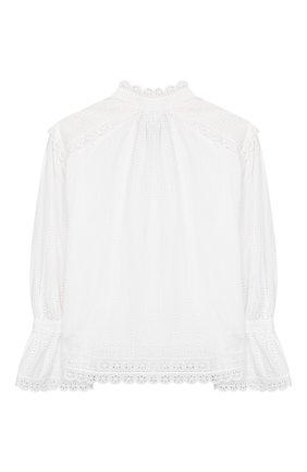 Детское хлопковая блузка OSCAR DE LA RENTA белого цвета, арт. 20SGN701EDX | Фото 2 (Материал подклада: Хлопок; Рукава: Длинные; Материал внешний: Хлопок; Ростовка одежда: 10 - 11 лет | 140 - 146см, 13 - 15 лет | 158 см)