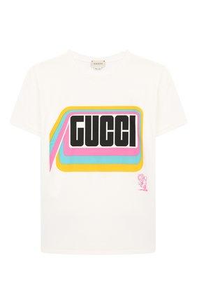 Детская хлопковая футболка GUCCI белого цвета, арт. 547865/XJB4Z | Фото 1