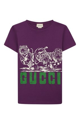 Детская хлопковая футболка GUCCI фиолетового цвета, арт. 547559/XJB44 | Фото 1
