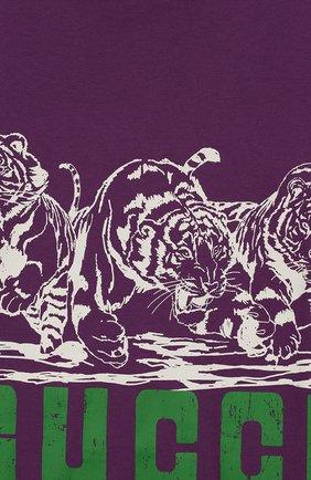 Детская хлопковая футболка GUCCI фиолетового цвета, арт. 547559/XJB44 | Фото 3