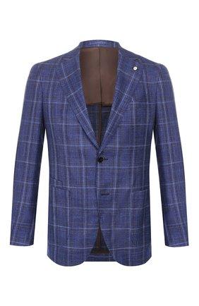 Мужской пиджак из смеси шерсти и шелка L.B.M. 1911 темно-синего цвета, арт. 2411/02648 | Фото 1