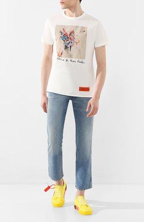 Мужская хлопковая футболка HERON PRESTON белого цвета, арт. HMAA011S209140030188 | Фото 2