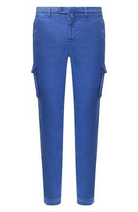 Мужской брюки-карго из смеси льна и хлопка KITON синего цвета, арт. UFPPCAJ07S41 | Фото 1