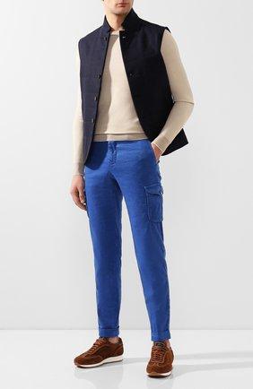 Мужской брюки-карго из смеси льна и хлопка KITON синего цвета, арт. UFPPCAJ07S41 | Фото 2
