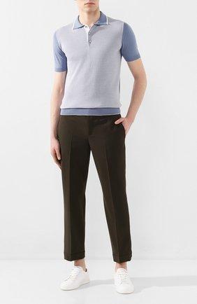 Мужское поло из смеси шелка и хлопка ANDREA CAMPAGNA голубого цвета, арт. SU20-294   Фото 2