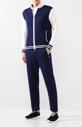 Мужской спортивный костюм из смеси шелка и хлопка ANDREA CAMPAGNA темно-синего цвета, арт. SU20-08081 | Фото 1