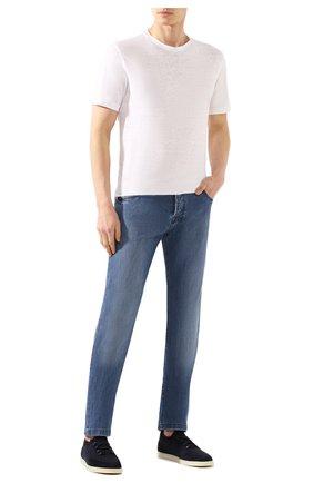 Мужская льняная футболка ERMENEGILDO ZEGNA белого цвета, арт. UU564/706 | Фото 2