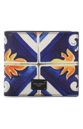 Мужской кожаное портмоне DOLCE & GABBANA синего цвета, арт. BP1321/AZ657 | Фото 1