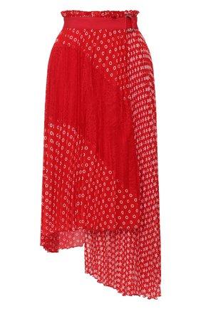 Женская плиссированная юбка ERMANNO ERMANNO SCERVINO красного цвета, арт. 46T GN27 FAN   Фото 1