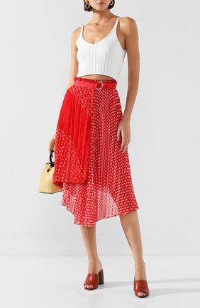 Женская плиссированная юбка ERMANNO ERMANNO SCERVINO красного цвета, арт. 46T GN27 FAN   Фото 2