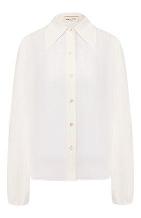 Женская шелковая рубашка SAINT LAURENT белого цвета, арт. 622778/Y100W   Фото 1 (Рукава: Длинные; Материал внешний: Шелк; Принт: Без принта; Длина (для топов): Стандартные; Женское Кросс-КТ: Рубашка-одежда)