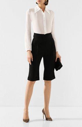 Женская шелковая рубашка SAINT LAURENT белого цвета, арт. 622778/Y100W   Фото 2 (Рукава: Длинные; Материал внешний: Шелк; Принт: Без принта; Длина (для топов): Стандартные; Женское Кросс-КТ: Рубашка-одежда)