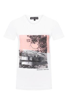 Женская хлопковая футболка MARKUS LUPFER белого цвета, арт. TEE337 | Фото 1