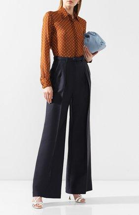 Женские брюки из смеси шерсти и шелка GABRIELA HEARST темно-синего цвета, арт. 320201 W024 | Фото 2