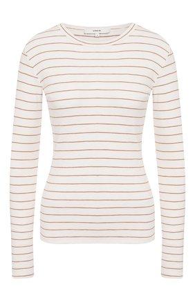 Женская пуловер в полоску VINCE бежевого цвета, арт. V646283452 | Фото 1