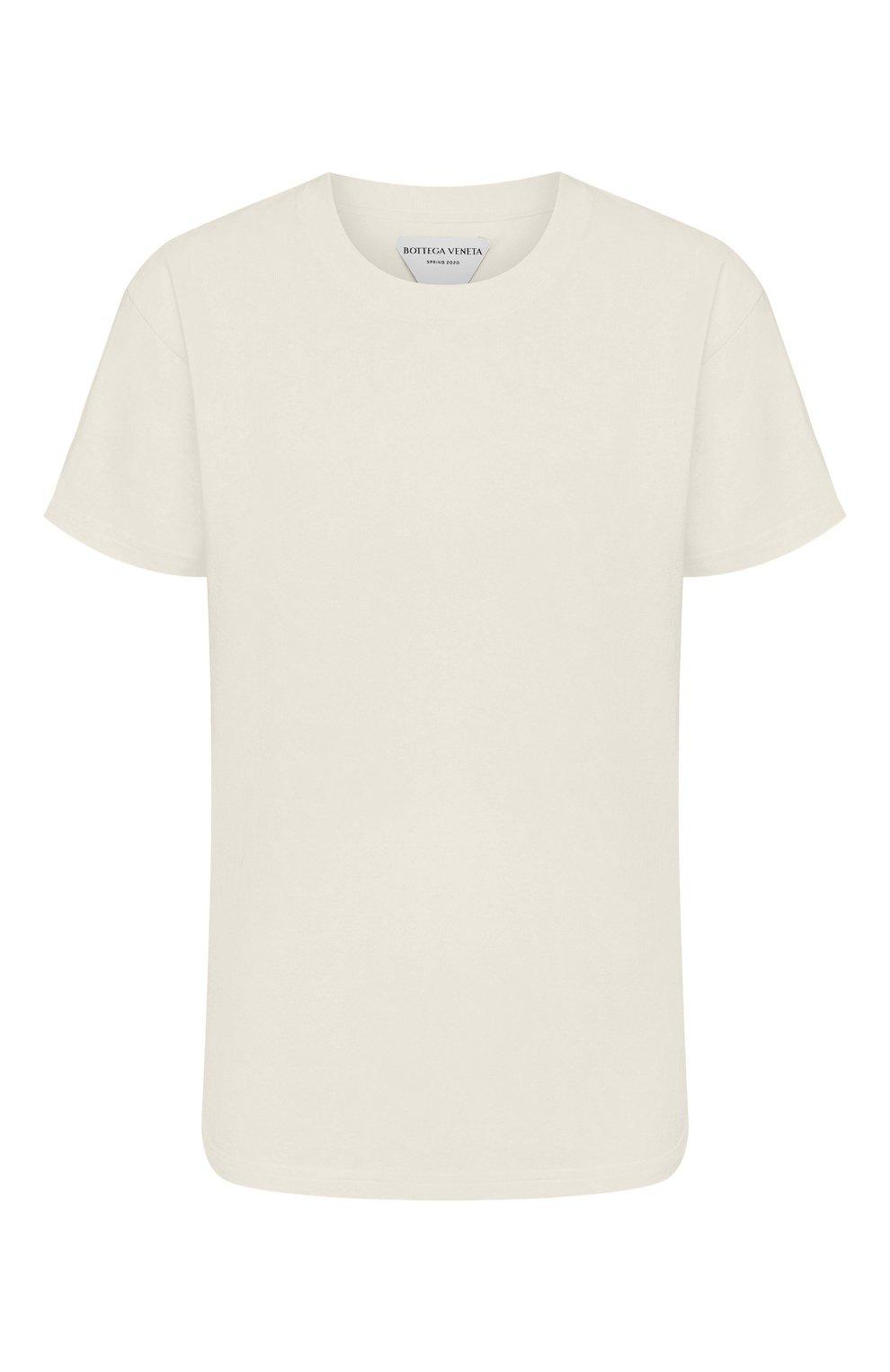 Женская хлопковая футболка BOTTEGA VENETA бежевого цвета, арт. 613935/VF2A0   Фото 1