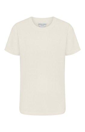 Женская хлопковая футболка BOTTEGA VENETA бежевого цвета, арт. 613935/VF2A0 | Фото 1