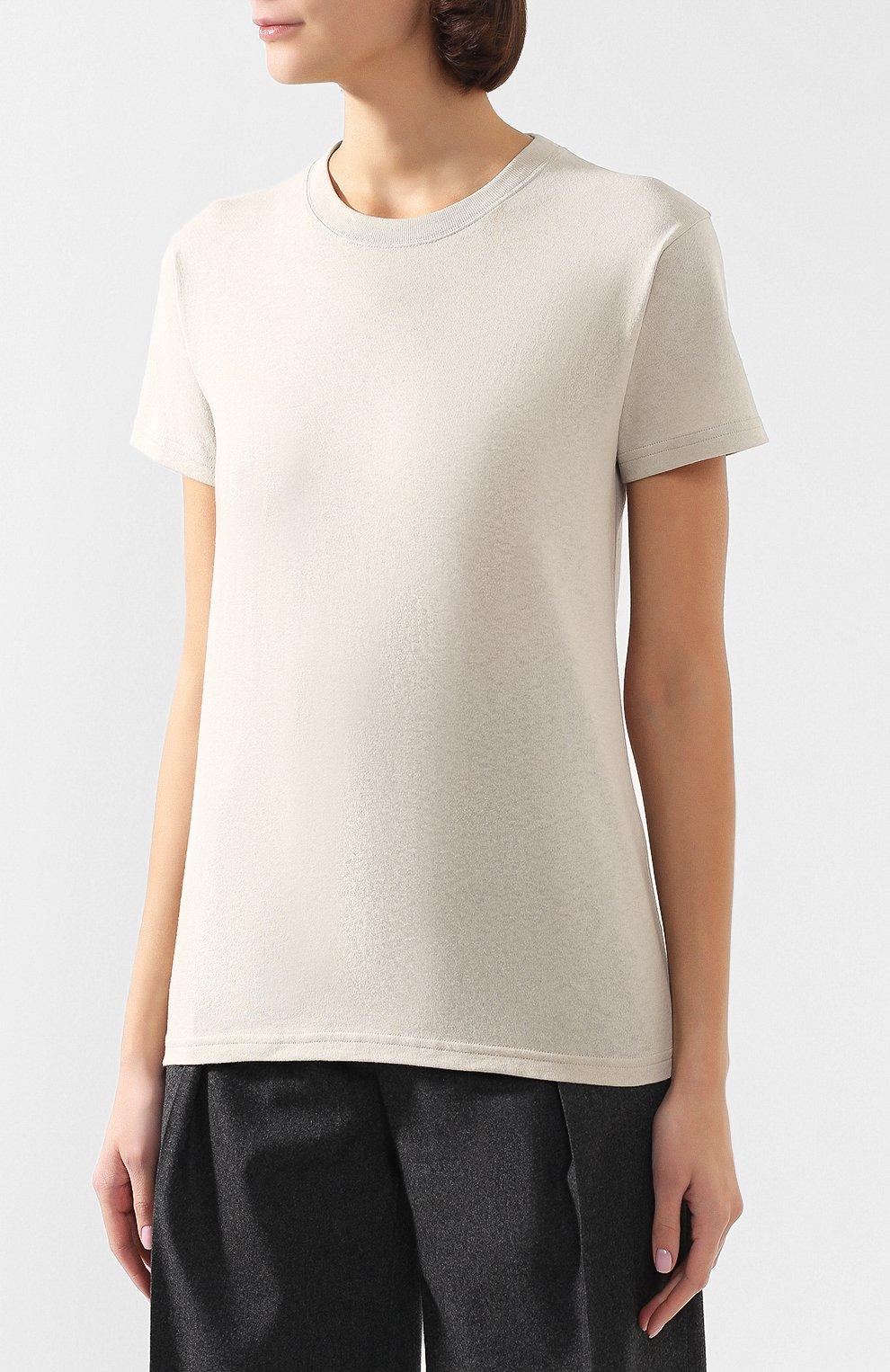 Женская хлопковая футболка BOTTEGA VENETA бежевого цвета, арт. 613935/VF2A0   Фото 3