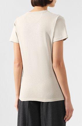 Женская хлопковая футболка BOTTEGA VENETA бежевого цвета, арт. 613935/VF2A0   Фото 4