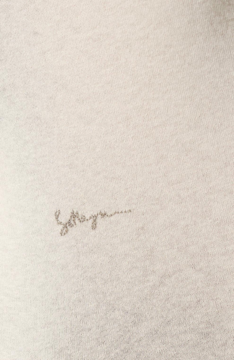 Женская хлопковая футболка BOTTEGA VENETA бежевого цвета, арт. 613935/VF2A0   Фото 5