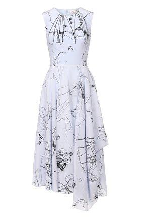 Женское шелковое платье ALEXANDER MCQUEEN синего цвета, арт. 621675/QDAAP | Фото 1