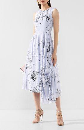 Женское шелковое платье ALEXANDER MCQUEEN синего цвета, арт. 621675/QDAAP | Фото 2
