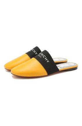Женские кожаные сабо GIVENCHY желтого цвета, арт. BE2002E01H   Фото 1