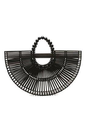 Женская сумка fan ark CULT GAIA черного цвета, арт. 20035WD BLK   Фото 1 (Материал: Растительное волокно; Размер: large; Сумки-технические: Сумки top-handle)