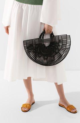 Женская сумка fan ark CULT GAIA черного цвета, арт. 20035WD BLK   Фото 2 (Материал: Растительное волокно; Размер: large; Сумки-технические: Сумки top-handle)